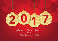 Merry Christmas and happy new year hanging 2017 number glitter b Stock Photo