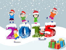 Merry christmas and Happy new year 2015 with happy children stock illustration