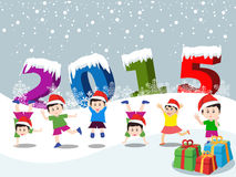 Merry christmas  and Happy new year 2015 with happy children Stock Image