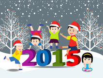 Merry christmas  and Happy new year 2015 with happy children Stock Photo