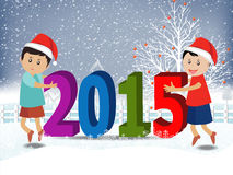 Merry christmas and Happy new year 2015 with happy children vector illustration