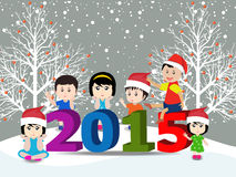 Merry christmas  and Happy new year 2015 with happy children Royalty Free Stock Photography