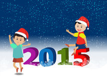 Merry christmas  and Happy new year 2015 with happy children Royalty Free Stock Images
