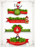 Merry Christmas, Happy New Year and Happy Holidays celebrations. Colorful poster, banner or flyer for Happy New Year and Merry Christmas celebrations Stock Photo