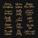 Merry Christmas, Happy New year and happy holidays creative lettering. Gold letters isolated on black background. Designed for web vector illustration