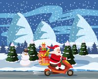 Merry Christmas and Happy New Year, Happy Santa Claus with a gifts box riding a scooter. Winter landscape background royalty free illustration