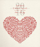 Merry christmas happy new year 2016 heart outline. Merry christmas happy new year 2016 heart shape in ornament outline style, holiday love design. Ideal for xmas stock illustration