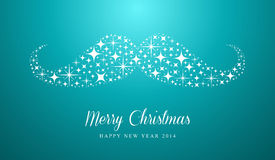 Merry Christmas and Happy New Year hipster greetin. Merry Christmas and Happy New Year 2014 card with hipster mustache stars composition. EPS10 vector file vector illustration