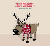 Merry Christmas and happy new year hipster reindeer. Merry Christmas and happy new year retro hipster reindeer in winter sweater cartoon greeting card. EPS10 Royalty Free Stock Images