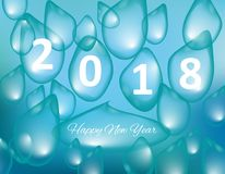 Merry Christmas and Happy New Year 2018, a holiday background with drops of water. Christmas card. Merry Christmas and Happy New Year 2018, a holiday background Stock Photography
