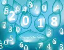 Merry Christmas and Happy New Year 2018, a holiday background with drops of water. Christmas card. Merry Christmas and Happy New Year 2018, a holiday background Royalty Free Stock Photos