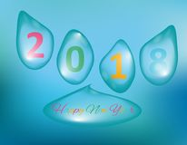 Merry Christmas and Happy New Year 2018, a holiday background with drops of water. Christmas card. Merry Christmas and Happy New Year 2018, a holiday background Stock Image