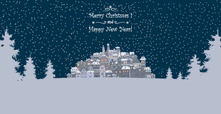 Merry Christmas and Happy New Year holiday background with inscr. Iption,urban landscape and snowfall.Merry Christmas greeting card with a small old town,trees Stock Image