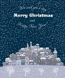 Merry Christmas and Happy New Year holiday background with inscr Royalty Free Stock Images