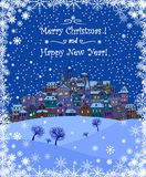 Merry Christmas and Happy New Year holiday background with inscr. Iption,urban landscape and snowfall.Merry Christmas greeting card with a small old town,trees Stock Photo