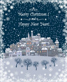 Merry Christmas and Happy New Year holiday background with inscr Stock Photography