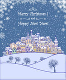 Merry Christmas and Happy New Year holiday background. With inscription,urban landscape and snowfall.Merry Christmas greeting card with a small old town,trees Royalty Free Stock Photography