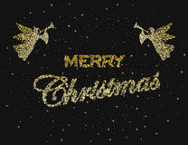 Merry christmas, happy new year, holiday. Christmas on a black background. Vector illustration Stock Photos