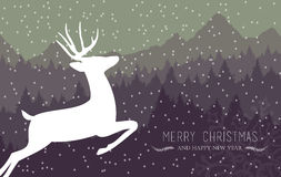 Merry christmas happy new year holiday card deer Stock Photos