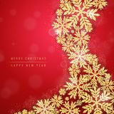Christmas gold glittering snowflakes background Royalty Free Stock Images