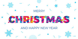 Merry Christmas Happy New Year greeting card snowflakes background vector papercut carving. Merry Christmas and Happy New Year holiday greeting card on white Stock Photos