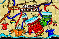 Merry Christmas and Happy New Year Holiday greetings background Stock Photo