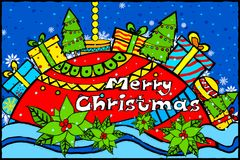 Merry Christmas and Happy New Year Holiday greetings background. Easy to edit vector illustration of Merry Christmas and Happy New Year Holiday greetings Stock Photo