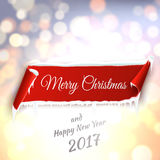 Merry Christmas and Happy New Year 2017. Holiday Vector bokeh background with lights. Red paper ribbon. Stock Photo