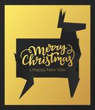 Merry Christmas and Happy New Year holidays card design. Winter postcard with black premium paper frame and background of gold foi. L vector illustration