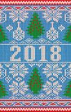 Merry Christmas and Happy New 2018 Year holidays knitted banner vector illustration