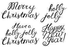 Merry, Christmas, Happy New Year, holly jolly celebration quote Royalty Free Stock Images