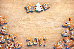 Merry Christmas and Happy new year! Homemade cookies on wooden background Stock Photography