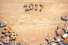 Merry Christmas and Happy new year! Homemade cookies on wooden background Royalty Free Stock Photos
