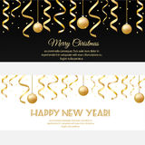 Merry Christmas, happy new year horizontal banners with golden streamers and baubles. Design template for invitation, social media, promotion Stock Illustration