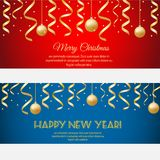 Merry Christmas, happy new year horizontal banners with golden streamers and baubles on red and blue background vector illustration