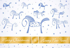 Merry christmas and happy new year horses card 201. 4 with blue  and golden background Royalty Free Stock Image