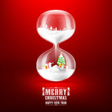 Merry christmas and Happy new year with hourglass. Vector illustration Royalty Free Stock Images