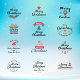 Merry Christmas and Happy New Year icon set. Typography, text de. Sign and element icons. Design for postcard, invitation, greeting card, banner, poster and royalty free illustration