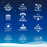 Merry Christmas and Happy New Year icon set. Typography, text de. Sign and element icons. Design for postcard, invitation, greeting card, banner, poster and stock illustration