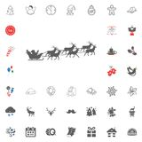 Merry Christmas and Happy New Year icon. Vector illustration. Santa sleigh icon. Merry Christmas and Happy New Year set icon. Vector illustration Stock Images