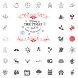 Merry Christmas and Happy New Year icon. Vector illustration. Merry Christmas and Happy New Year set icon. Vector illustration Royalty Free Stock Photo