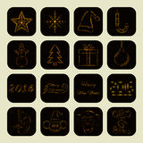Merry Christmas and Happy New Year icons of lights. Merry Christmas and Happy New Year icons of gold lights, monkey, date, text and objects Royalty Free Stock Photo
