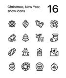 Merry Christmas and Happy New Year icons for web and mobile design pack 3 Royalty Free Stock Image