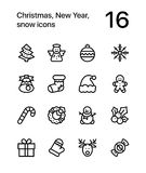 Merry Christmas and Happy New Year icons for web and mobile design pack 1 Stock Photo