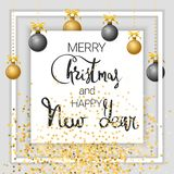 Merry Christmas and Happy New Year. Gold royalty free illustration