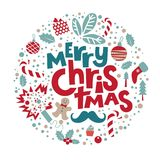 Merry Christmas and Happy New Year illustration. Christmas illustration for congratulations with New year and Christmas. With lettering composition merry Stock Images