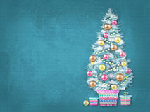 Merry Christmas and Happy New Year. Illustration of decorated Christmas tree in a flowerpot with gifts. Christmas greeting card Royalty Free Stock Photo