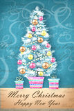 Merry Christmas and Happy New Year. Illustration of decorated Christmas tree in a flowerpot with gifts. Christmas greeting card Stock Photos