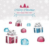 Merry Christmas and Happy New Year  illustration. Gift boxes, christmas baubles, snow and snowflakes Royalty Free Stock Images