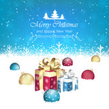 Merry Christmas and Happy New Year  illustration. Gift boxes, christmas baubles, snow and snowflakes Royalty Free Stock Photography